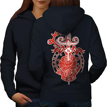 Life Love Hate Fashion Women NavyHoodie Back | Wellcoda
