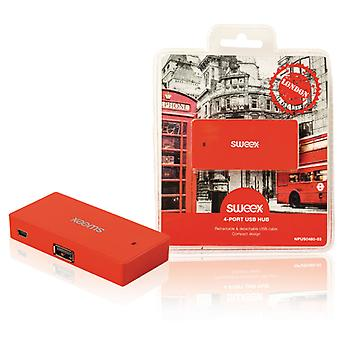 Sweex NPUS0480-03 4-poorts Usb-hub London Rood