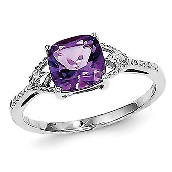 Solitaire Amethyst Ring 1.00 Carat (ctw) in Sterling Silver