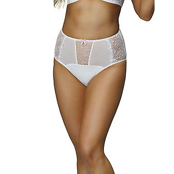 Nessa P1 Women's Mamma White Solid Colour Embroidered Knickers Panty Full Brief