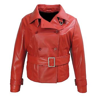 Womens Red Leather Blazer - Very Exotic