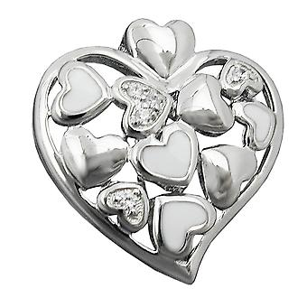 Pendant heart with zirconias silver 925