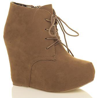 Ajvani womens high heel hidden wedge platform lace up zip ankle booties boots