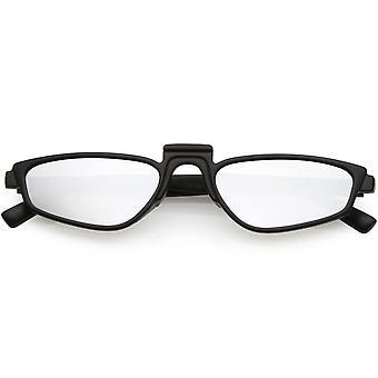 Geometric Square Raised Nose Bridge Mirrored Lens Rectangle Sunglasses 52mm