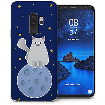 S9 Samsung Galaxy Plus gato grande en estuche de Gel TPU Luna - azul