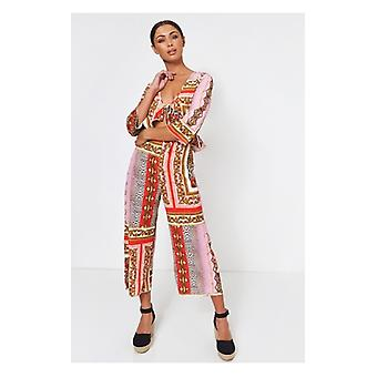 Der Fashion Bibel Brion Rosa Barock Print Halskrause Overall