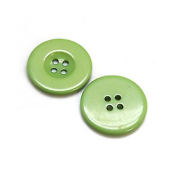 Packet 20 x Green Resin 23mm Round 4-Holed Sew On Buttons HA07235
