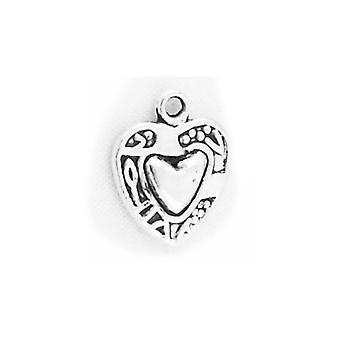 Packet 8 x Antique Silver Tibetan 15mm Heart Charm/Pendant ZX11700
