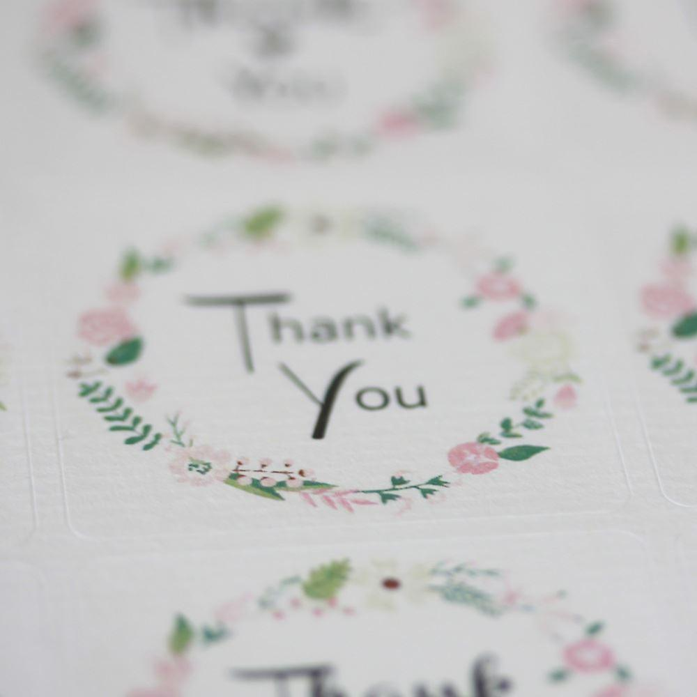 Floral Wreath 'Thank You' Sticker Sheet  - 35 square stickers - Wedding / Craft