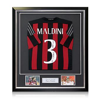 Paolo Maldini Signed 2015-16 AC Milan Adidas Home Shirt In Deluxe Black Frame With Silver Inlay