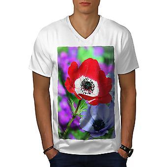 Flower Field Art Men WhiteV-Neck T-shirt   Wellcoda