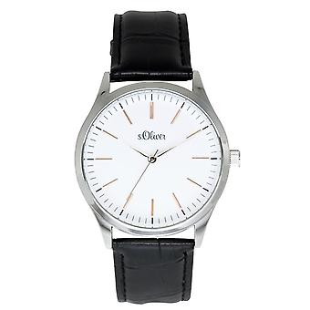 s.Oliver mäns wrist watch analoga quartz läder SO-15143-LQR
