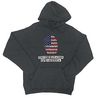USA-Fingerabdruck-Flagge Kohle grauen Pullover Hoodie Geschenk 4th Of July