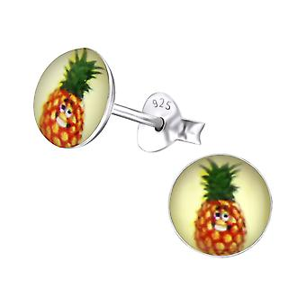 Pineapple - 925 Sterling Silver Colourful Ear Studs