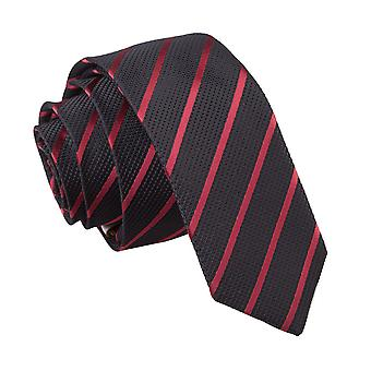Schwarz & Burgund einzigen Streifen schmaler Krawatte
