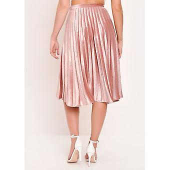 Velvet Pleated Midi Skirt Blush Pink