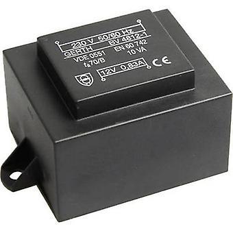 PCB de montaje transformador 1 x 230 V 1 x 15 V AC 10 VA 666 mA
