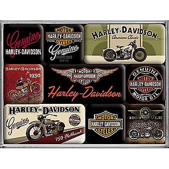 Harley Davidson Bikes Set In vak 9 Mini koelkast magneten