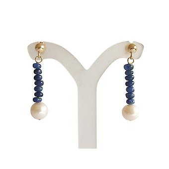 Pearl Earrings, Sapphire earrings Sapphire parel oorbellen verguld