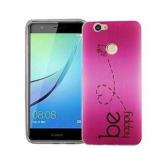 Mobile Shell voor Huawei Nova cover case beschermende zak motif slim TPU + armor bescherming glas 9 H worden gelukkig roze