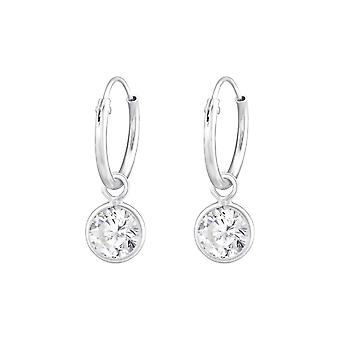Hanging Round - 925 Sterling Silver Ear Hoops - W36548x