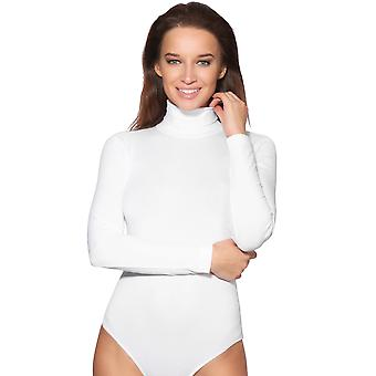 KRISP  Women Ladies Plain Long Sleeve Turtle High Roll Neck Bodysuit Body Top Leotard