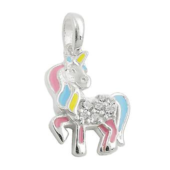 Pendant unicorn multicolored silver 925