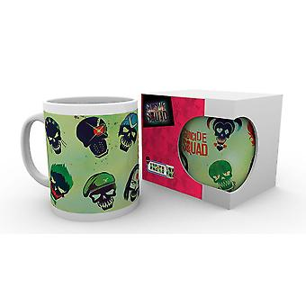 Suicide squad Cup comic skulls white, printed, ceramic, capacity approx. 320 ml., in gift box.