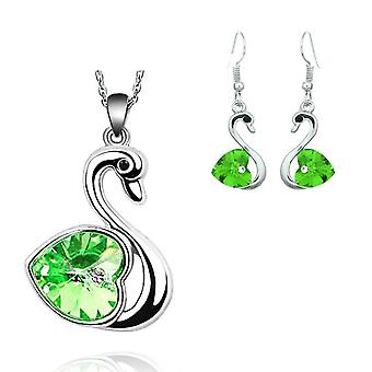 Crystal Love Heart In Green Swan Jewellery Set Earrings And Matching Necklace Silver