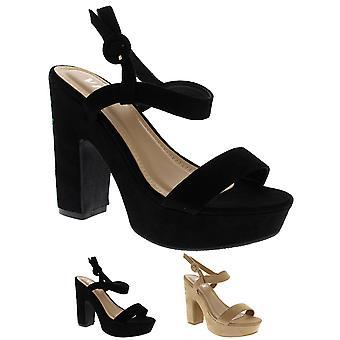 Womens Flower Embroidered Block Heel Platform Open Toe Sandals Heels UK 3-10