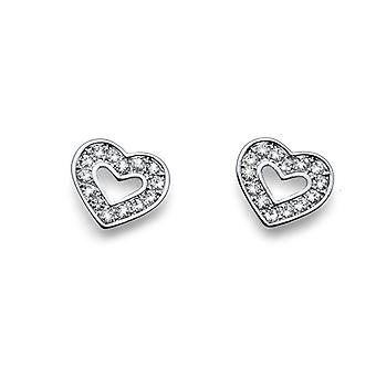 Oliver Weber Post Heart Shaped Earring Rhodium Crystal