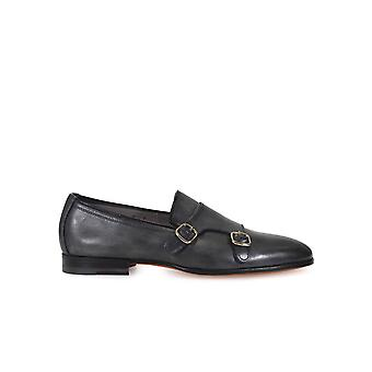 SANTONI DOUBLE BUCKLE GREY LEATHER LOAFERS