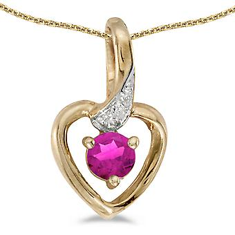 10k Yellow Gold Round Pink Topaz And Diamond Heart Pendant with 16