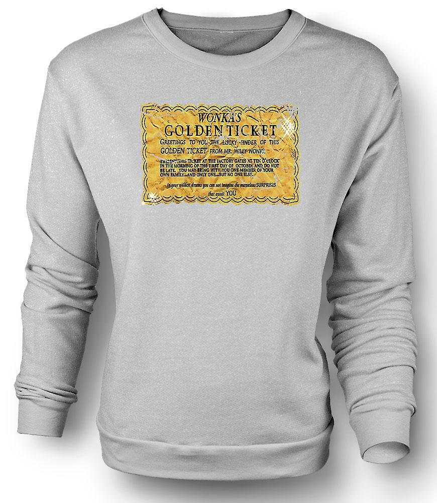 Mens Sweatshirt Willy Wonka Golden Ticket - Funny