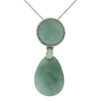 TOC Natural Jadeite Round & Teardrop Sterling Silver Pendant Necklace 18