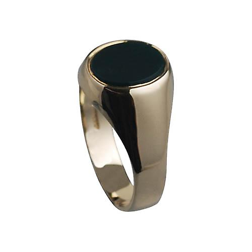 9ct Gold 12x10mm gents Onyx set Signet Ring Size W