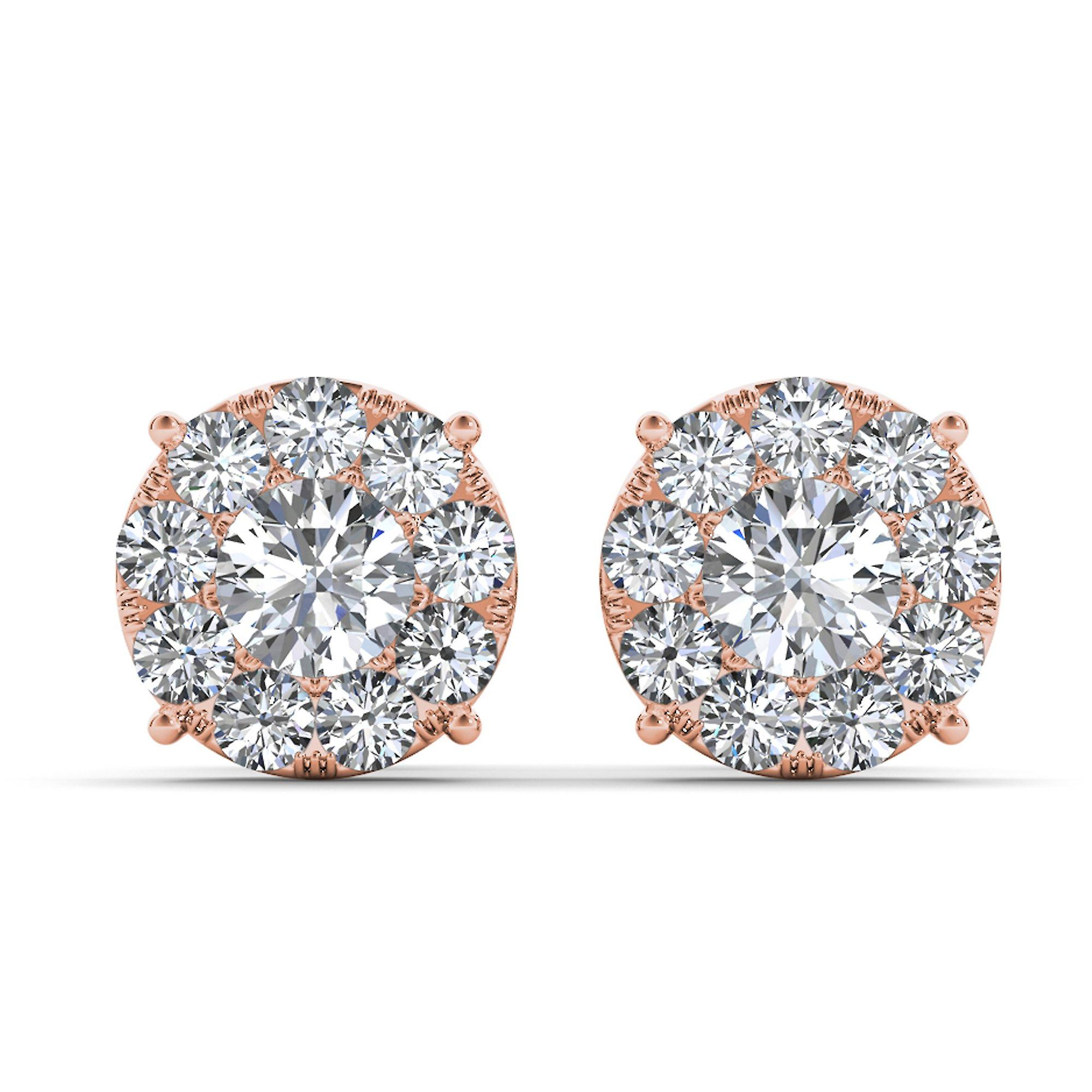 IGI Certified Solid 10k Rose or 1.25 Ct Diamond Stud boucles d'oreilles Pushback