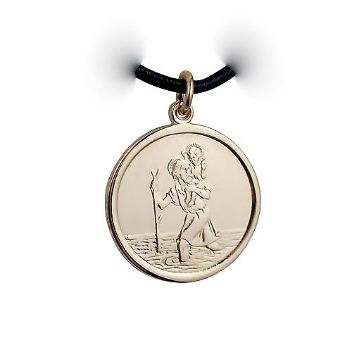 1/20th 14ct yellow gold on Silver 25mm round St Christopher Pendant with a Leather Pendant Cord 24 inches