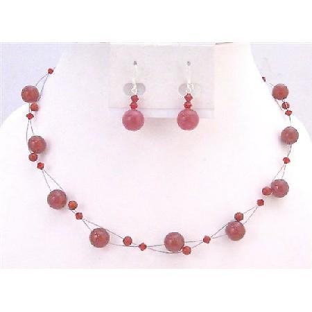 Passionate Siam Red Genuine Swarovski Crystals Necklace Set Affordable Under $15 With Red Glass Beads Cheap Wedding Jewelry Floating set