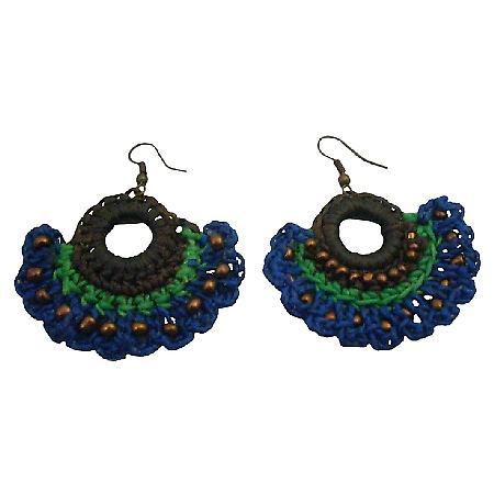 Attractive Crochet Earrings Combo Deep Brown Blue Green Earrings