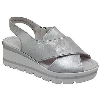 Remonte Metallic Open Toe Low Wedge Sandal