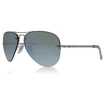 Ray-Ban RB3449 904330 Silver RB3449 Aviator Sunglasses Lens Category 2 Lens Mirrored Size 59mm
