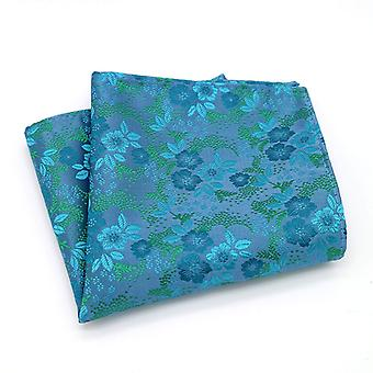 Turquoise & green designer mixed floral pocket square