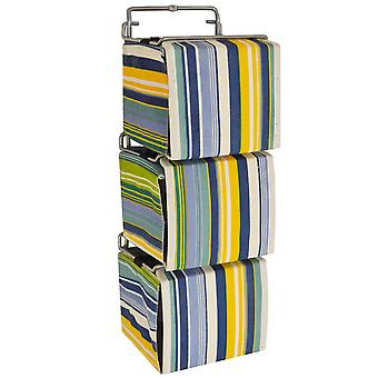 Streifen - 3 Wand Stoff Aufbewahrungsboxen für Cd / Spielwaren / Toilettenartikel - blau / grün