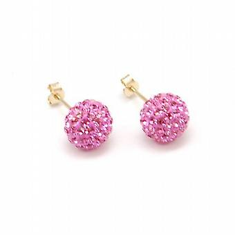The Olivia Collection 9ct Gold 8mm Pink Crystal Ball Stud Earrings