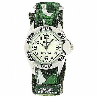 Ravel Nite-Glo quarzo quadrante luminoso verde militare facile fissare Boys Watch R1704.11