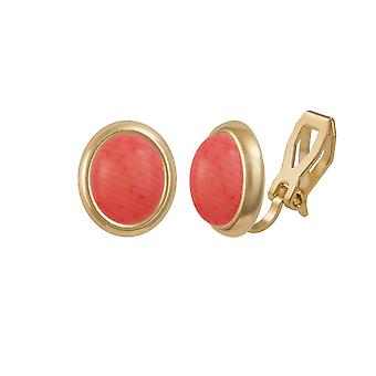 Eternal Collection Minuet Pink Coral Gold Tone Stud Clip On Earrings