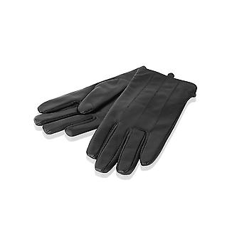 Mens Black Stitch Detail Leather Gloves