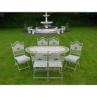 Cream Swirl Table and Six Chairs Bistro Set