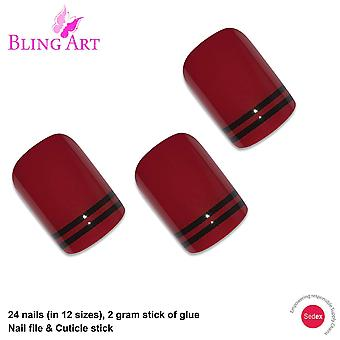 False nails by bling art red black glossy french squoval 24 fake medium tips